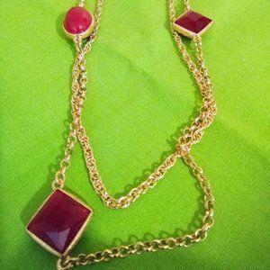 Gold Tone Layered Necklace w/Acrylic Beads